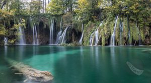 Waterfall pano at Plitvice National Park