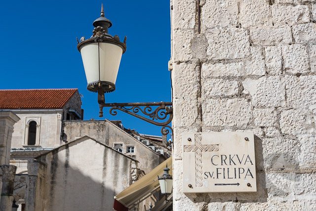 Street sign and lamp in Diocletian Palace