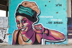 Street art on Staklena Banka Building